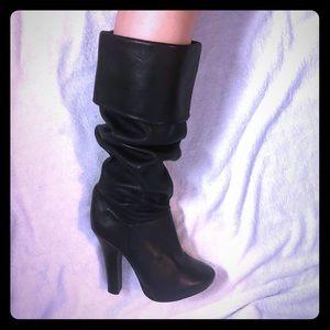 Black leather slouch platform heel boots